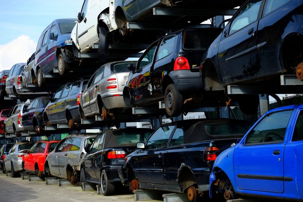 Piles Of Cars At The Wrecker Service Yard