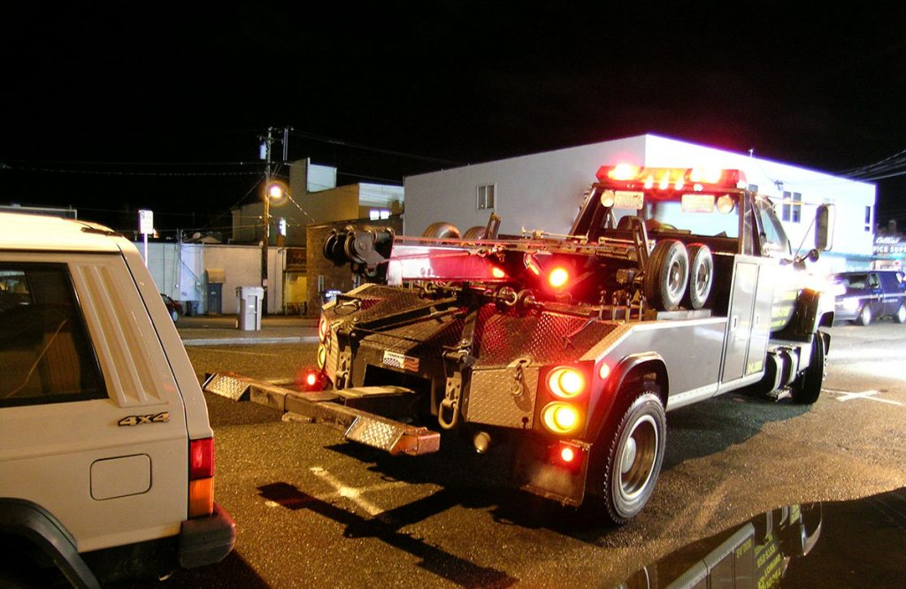 Towing Company At Night In Virginia Beach